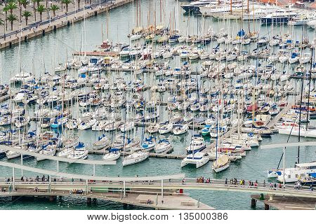 Barcelona port view from the air. Luxurious port in Barcelona Spain.