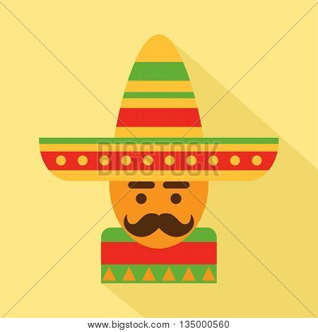 Mexican man in sombrero, vector design element