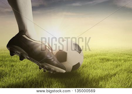 Foot of soccer player doing free kick with a ball on the green meadow