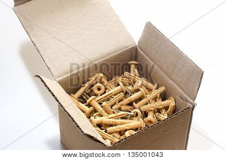 Photo dowels in box -  isolated on white background