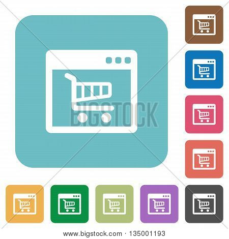 Flat webshop icons on rounded square color backgrounds.
