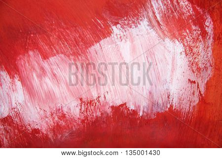 Red white painting grunge for background texture