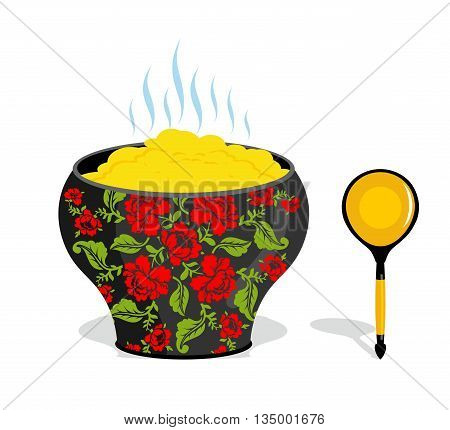 Russian Pot Of Porridge. National Folk Wooden Spoon. Traditional Dishes In Russia Villages. Kitchen