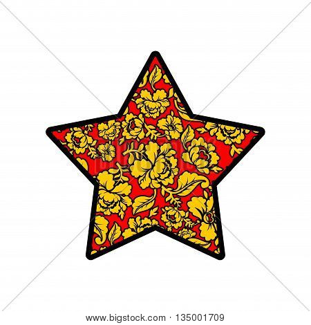 Star Russian Khokhloma Style. National Folk Painting Of Flowers. Traditional Pattern Of Golden Flowe