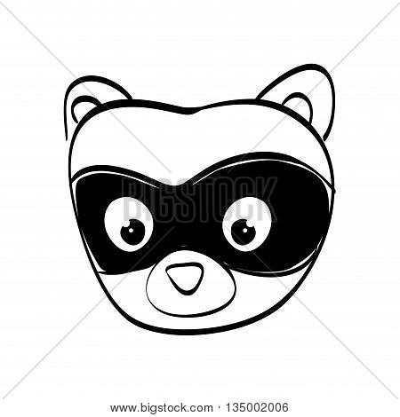 Cute animal concept represented by raccoon cartoon icon over flat and isolated background