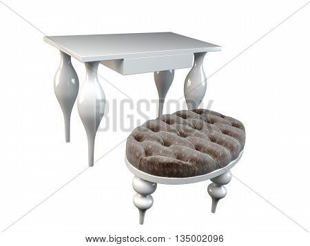 3D Rendering Ottoman And Ressing Table