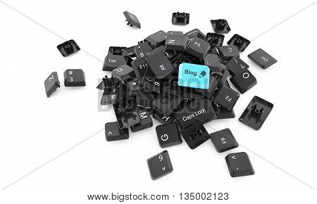 Stack Of Keyboard Buttons Isolated On White Background With Blog Word On One Of Them