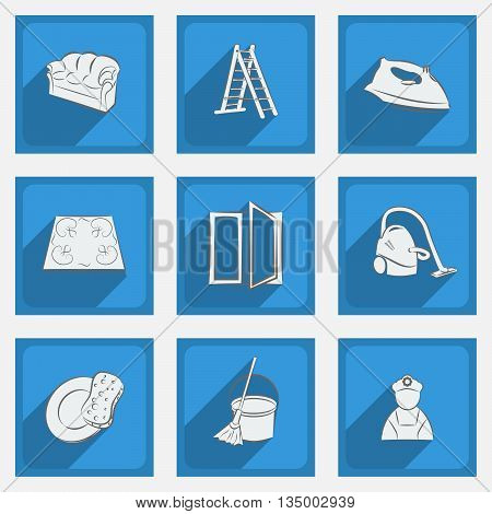 Fashionable flat icons with long shadows cleaning theme on a blue background. Vector illustration.