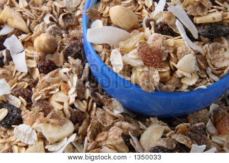 Healthy Muesli For Breakfast In Blue Bowl