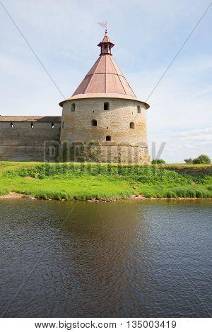Golovina tower closeup, sunny day in july. The Oreshek fortress, Leningrad region, Russia