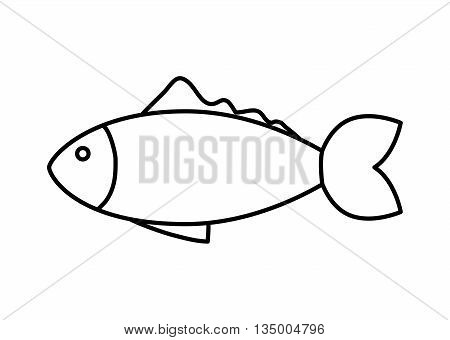 Sea life concept represented by fish animal icon over flat and isolated background