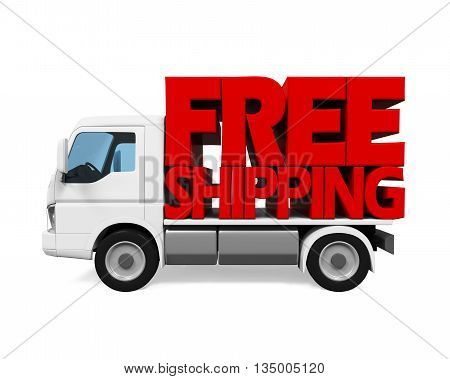 Delivery Van with Free Shipping Text isolated on white background. 3D render