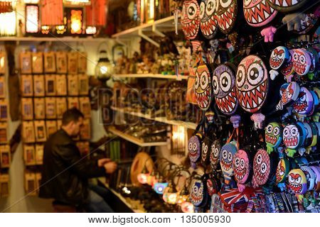 LONDON - OCTOBER 04: Souvenir shop in Camden Town market on October 04 2014 in London UK. Camden Town markets are visited by 100000 people each weekend