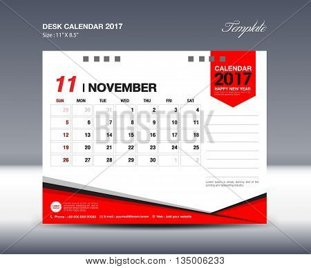 NOVEMBER Desk Calendar 2017 Design Template polygon vector design