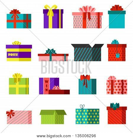 Vector gift open box set cardboard empty container packaging. Gift open box carton transportation package paper, red ribbon bow. Gift open box celebration holiday collection warehouse receive.