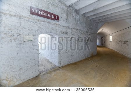 Cabra Spain - September 5 2010: Interior of bullring of Cabra is based on a popular architecture being built with masonry brick and wood debuted as a bullfighter on April 16 1933 Sunday of resurrection the Bullfighter Manuel Rodríguez