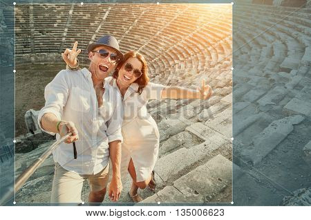 Cropping for share in social network photo positive young couple in Side amphitheatre