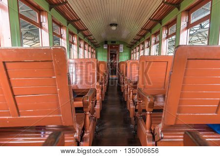 Old Train Wagon Interior In Tiradentes, A Colonial City