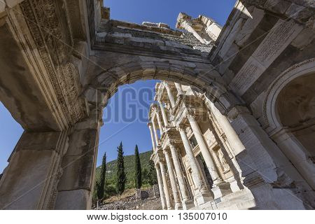 Ancient Library of Celsus in Ephesus, Turkey.