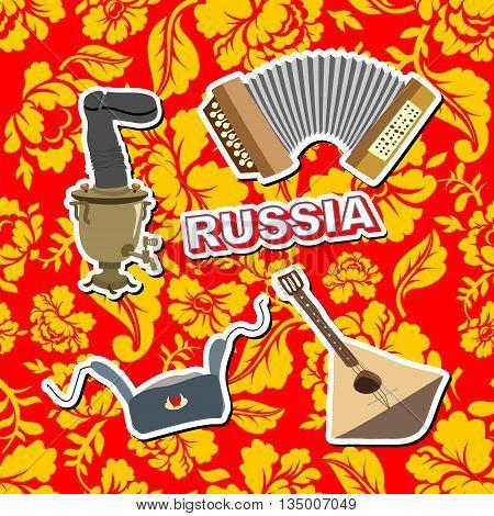 Set Russian Icons.  Balalaika, Samovar, Ushanka, Accordion. Background Painting Khokhloma