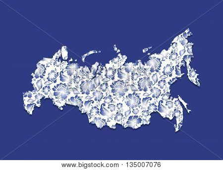Russia Map Gzhel painting. Traditional Russian pattern. State border of Russian Federation. geography Patriotic illustration