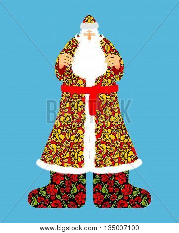 Russian Santa Claus. Grandfather Frost. Cloak in traditional ornament khokhloma. Bearded Santa for new year.