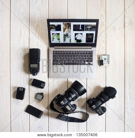 Photographer Wedding Equipment Camera Business Work Hobby Lifestyle Start Up Concept