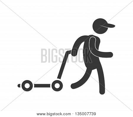Delivery and Shipping concept represented by silhouette of deliverman icon over flat and isolated background