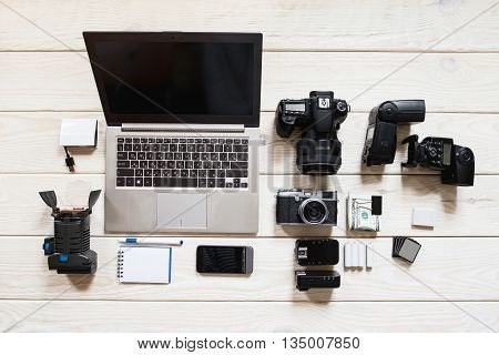 Photographing Equipment Occupation Hobby Camera Laptop Tools Hobby Lifestyle Concept