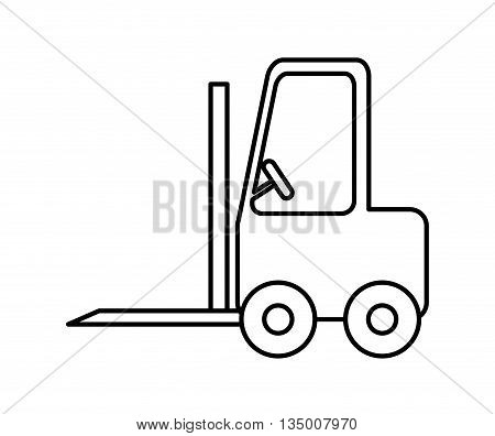 Delivery and Shipping concept represented by silhouette of forklift icon over flat and isolated background