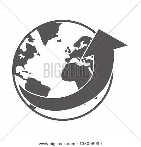 Delivery and Shipping concept represented by silhouette of earth planet icon over flat and isolated background