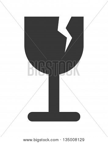 Delivery and Shipping concept represented by silhouette of broken cup icon over flat and isolated background