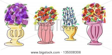 Flower arrangement container whimsical illustration icon symbol