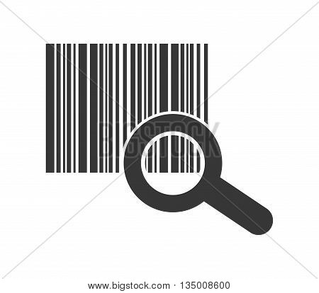 Delivery and Shipping concept represented by silhouette of code and lupe icon over flat and isolated background