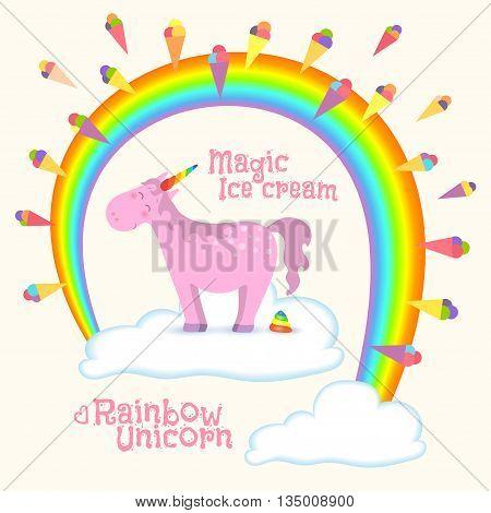 Magical unicorn standing on cloud under rainbow creates ice cream. Vector illustration
