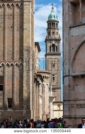 PARMA ITALY - APRIL 27 2016: The bell tower of the San Giovanni Evangelista church designed by Giovanni Battista Magnani completed in 1613. With a height of 75 meters it is the tallest in Parma.