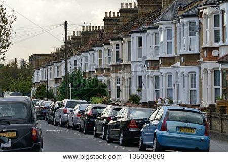 LONDON - OCTOBER 02: The exterior of a typical detached English house on October 02 2014 in London UK.