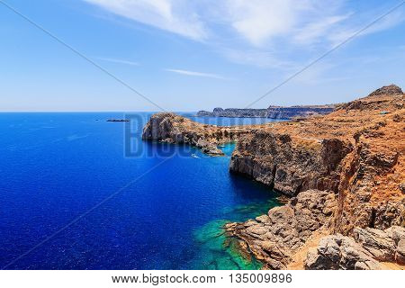 view of the sea and the beautiful lagoon on top of the Mediterranean Sea Rhodes