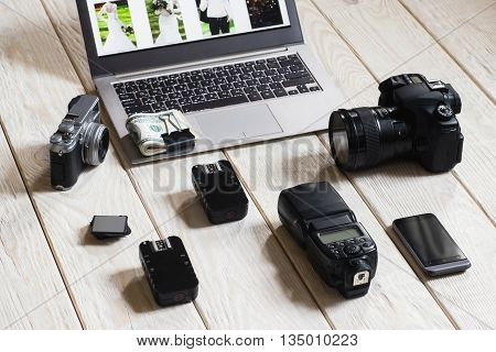 Photographer Wedding Equipment Camera Start Up Work Hobby Lifestyle Concept