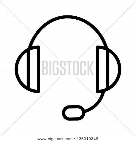 Sound and music concept represented by headphone  icon over flat and isolated background