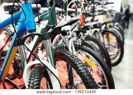The modern mountain bikes in sports shop