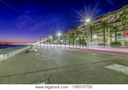 France, Nice, Cote d'Azur - Sidewalk on the beach in the night
