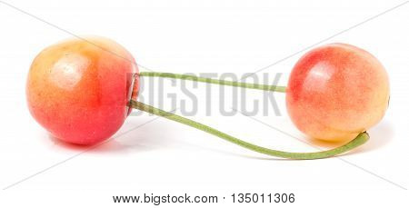 Two yellow cherries isolated on white background.