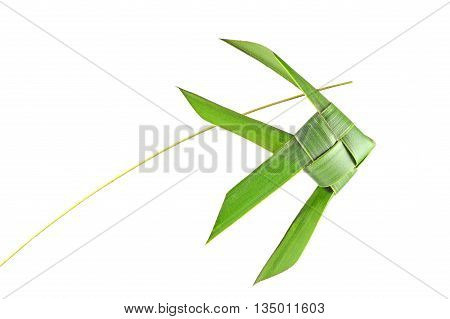 Thai woven coconut leaves fish on a white background