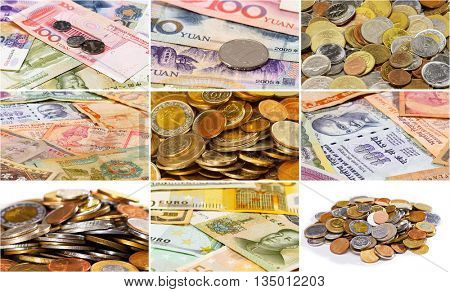 Collage (set) of many different asian currency bank notes  and coins business background