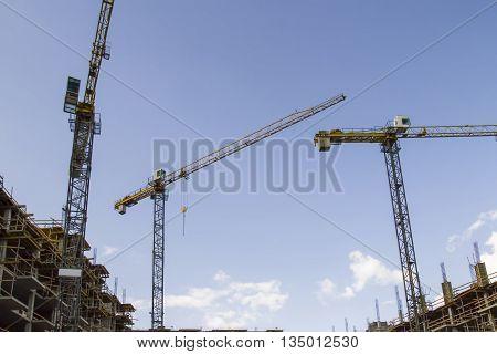 Crane and building construction site. Construction concept