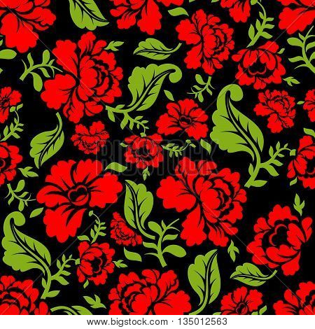 Red Rose Seamless Pattern. Floral Texture. Russian Folk Ornament. Red Flowers On Black Background. V