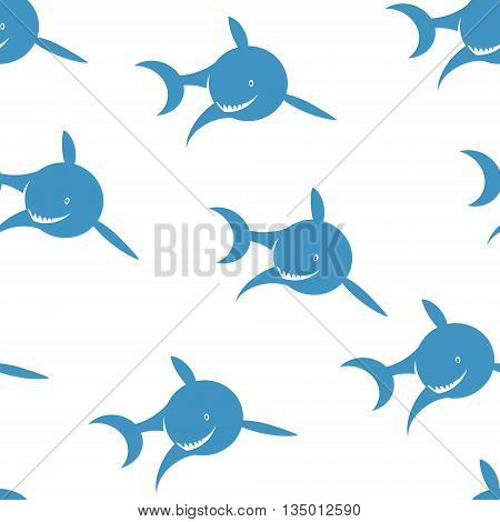 Seamless pattern of blue shark on a white background. Vector illustration