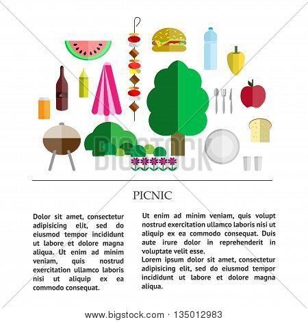 picnic collection - different components of a picnic - food drinks utensils and grill nature with place for text.