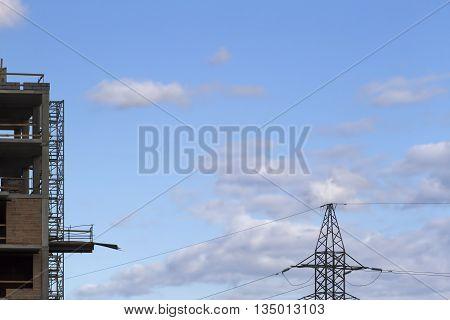 Building construction site. Construction or reconstruction concept